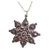 Beautiful 8 Point Bohemian Garnet Star Pendant with Lovely Vintage Chain