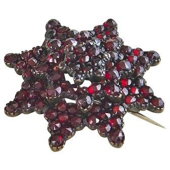 Victorian Bohemian Garnet Star Brooch – 8 Points