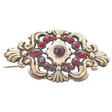 Antique 14k Bohemian Garnet Brooch