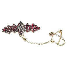 Petite Antique Bohemian Garnet Brooch with Safety Pin