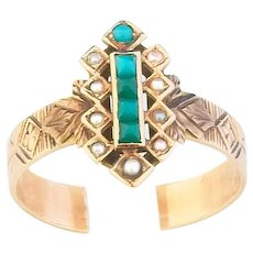 Fabulous 14k Antique Turquoise and Pearl Ring  circa 1880