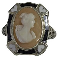 White Gold Filigree Cameo Ring with Enamel