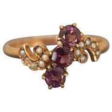 Lovely Victorian Amethyst and Seed Pearl ring C. 1895