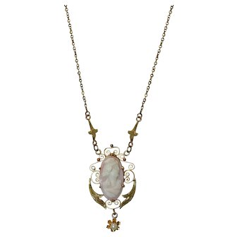 Lovely Vintage 10k Gold Cameo Necklace With Pearl Drop