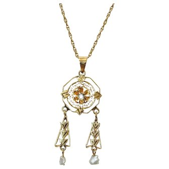 Charming Vintage 14k Gold Lavalier of 14k Rope Chain