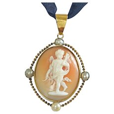 14k Victorian Cameo of Angel or Cherub
