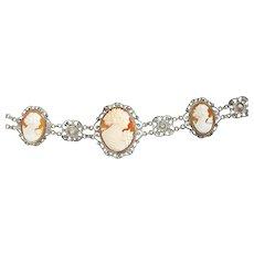 Lovely Vintage Silver Filigree Cameo Bracelet