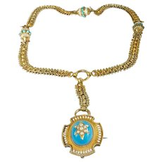 Spectacular Victorian 14k Enamel Book Chain with Hair Locket