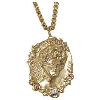 """The Lady"" Fabulous Art Nouveau Heavy Gold Diamond and Ruby Pendant/brooch"