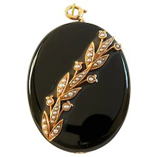Victorian Onyx and Seed Pearl Pendant