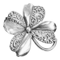 Adorable Antique Sterling Shamrock Watch Pin