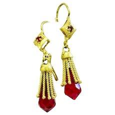 Fabulous Vintage 18k Earrings with Rubies