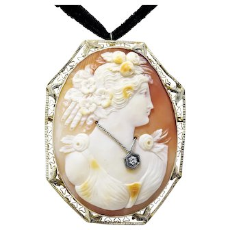 Beautiful Large 14k White Gold Filigree Habille Cameo Pin Pendant