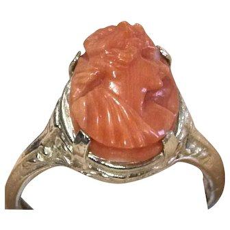 Vintage 10k White Gold Filigree Coral Cameo Ring