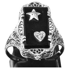 Lovely 14k White Gold Filigree Onyx Ring With Heart and Star