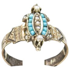 Wonderful 14k Victorian Turquoise and Pearl Ring