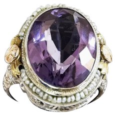 Spectacular Vintage 14k White Gold Amethyst and Seed Pearl Ring