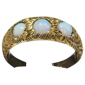Gorgeous 14k Antique Opal Ring with Repousse Mounting