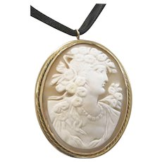 Huge and Lovely Antique Cameo Brooch or Pendant