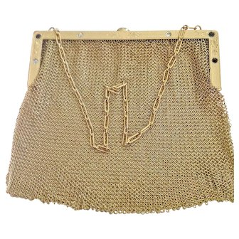 Extraordinary Large 14k Gold Purse from the 20s - Diamonds and Sapphires