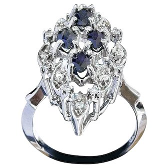 Vintage 14k White Gold Sapphire and Diamond Evening Ring
