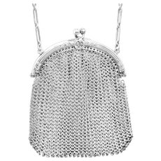 Lovely Antique Sterling and Mesh Chatelaine or Change Purse