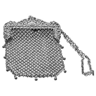 Lovely Antique Whiting and Davis Sterling Silver Mesh Bag with Reposse' Handle