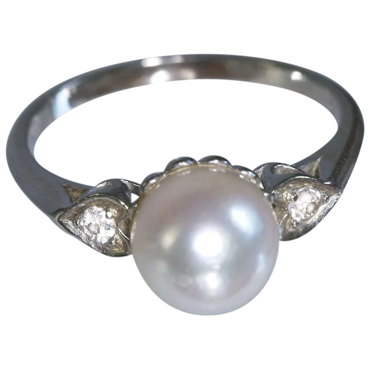 91af95893add0a Vintage 14k White Gold 8 MM Pearl Ring Diamond Accents : Charlene Trueman  Antiques and Estate Jewelry | Ruby Lane
