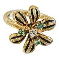 Vintage 14k Emerald And Diamond Flower Ring
