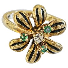 Vintage 14k Emerald And Diamond Flower Ring