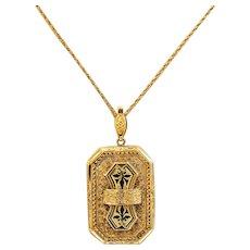 Beautiful 12k Gold Black Enamel Pendent on 14k Chain