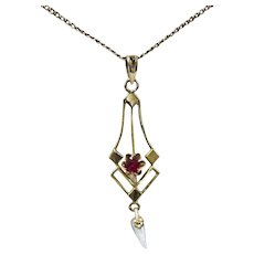 Lovely Vintage 10K Lavalier with Pearl Drop on Chain