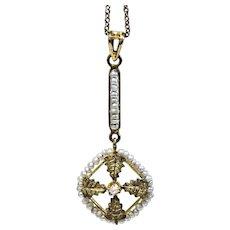 Unique Gold Edwardian Pearl and Diamond Lavalier