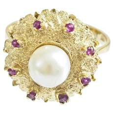 Beautiful Vintage 18k Pearl and Ruby Ring
