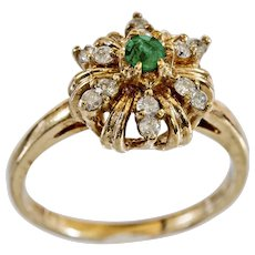 Charming Vintage 14k Emerald and Diamond Ring