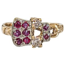 Lovely Vintage 14k Ruby and Diamond Buckle Motif Ring