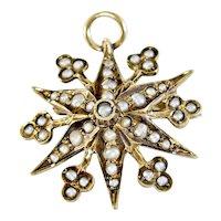 Charming 10k Edwardian Seed Pearl Starburst Pin or Pendent