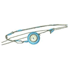 Lovely Vintage Silver Guilloche Turquoise Enamel Ball Watch With Enamel Link Chain