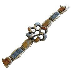 Outstanding Victorian Sterling Scottish Agate Bracelet