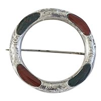 Excellent Victorian Silver Scottish Agate Brooch
