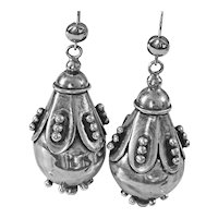 Gorgeous and Unusual Vintage Silver Drop Earrings