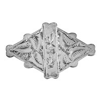 Antique Silver Brooch With Flowers and Leaves