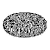Vintage Silver Brooch With Cherubs Dancing