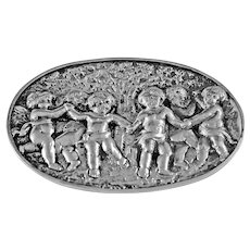 Vintage Silver Brooch With Cherubs Dancing