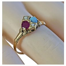 Lovely Eye- Catching Victorian Turquoise, Pearl and Red Spinel Ring