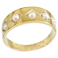Antique 15k Pearl Band Ring
