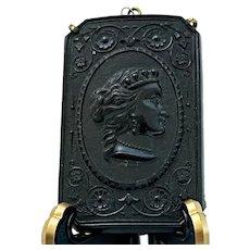 Large Antique Gutta Percha Right Profile Cameo in Frame