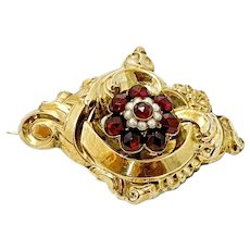 Antique or Georgian Repousse' Gold Garnet and Pearl  Brooch