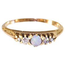 Antique  14k Gold Opal, Diamond, and Pearl Ring