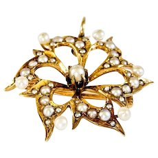 Beautiful Vintage14k Pearl Studded Pin/Pendent